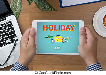 HOLIDAY HOMEPAGE man hand Tablet and coffee cup