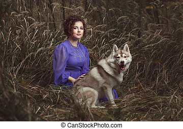 Portrait of a woman with dog. - Portrait of a woman with a...