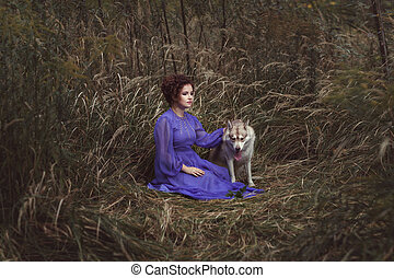 Woman with an angry wolf.