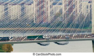 Big Obukhov bridge in Saint-Petersburg. This cable-stayed...