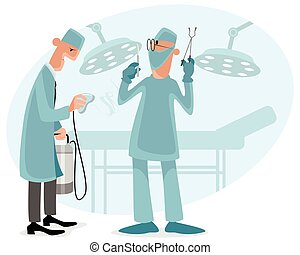 Surgeon and anesthetist - Vector illustration of a surgeon...