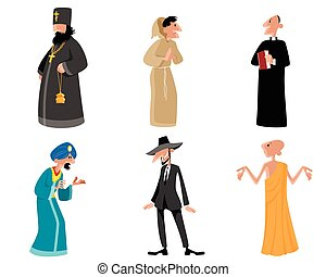 Six religious figures - Vector illustration of a six...