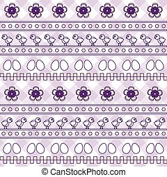 Seamless pattern with eggs and chiks