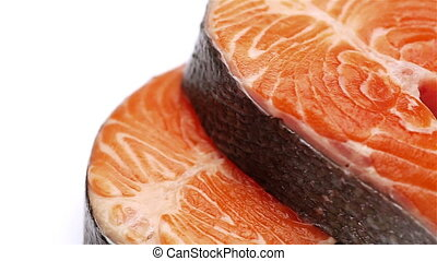 Fresh Raw Salmon Red Fish Steak isolated on a White...
