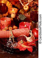 Place setting for Thanksgiving - Table setting with autumn...