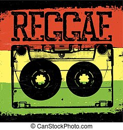Audiocassette and Reggae lettering. Vector reggae design...