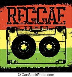 Audiocassette and Reggae lettering. Vector reggae design...