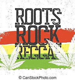 Wortels, rots, Reggae, noteren, rastafarian, vlag, grunge,...
