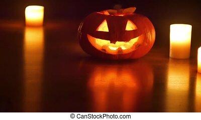 Helloween pumpkin and candles - Halloween pumpkin and...
