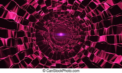 Abstract triangular crystalline tunnel animation. Seamless...