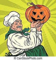 Retro cook with pumpkin Halloween, pop art vector...