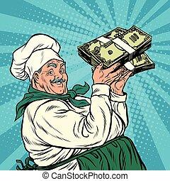 Retro chef with a bundle of money, pop art retro vector...