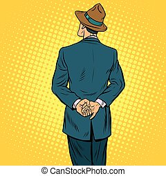 Retro male back, pop art vector illustration