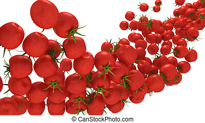 Tomatoes flow isolated over white.