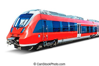 Modern high speed train isolated on white - Creative...