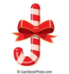 Candy cane with bow icon, cartoon style - Candy cane with...