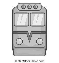 Train icon, black monochrome style
