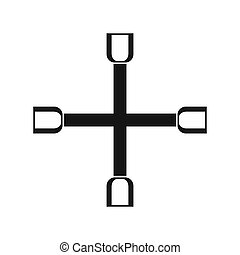 Wheel wrench cross icon, simple style - icon in simple style...