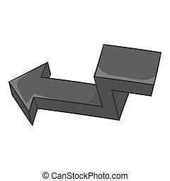Arrow points to left icon, black monochrome style - Arrow...