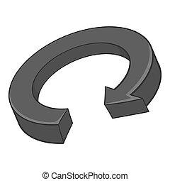 Circular arrow icon, black monochrome style - Circular arrow...