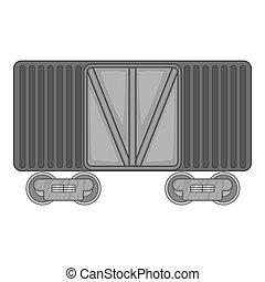 Freight train icon, black monochrome style - Freight train...