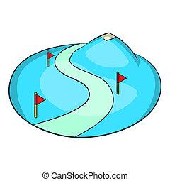 Ski slope of the snow mountain icon, cartoon style - Ski...