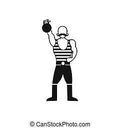 Strong man with kettlebell icon, simple style - icon in...