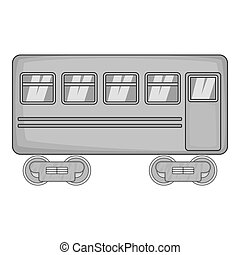 Rail car icon, black monochrome style