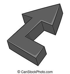 Fat arrow icon, black monochrome style - Fat arrow icon in...