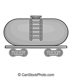 Tanker trailer on train icon, monochrome style