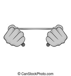 Hands stretch expander icon, monochrome style - Hands...