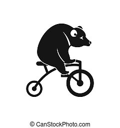 Bear on a bike icon, simple style - icon in simple style on...