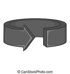 Round arrow icon, black monochrome style - Round arrow icon...