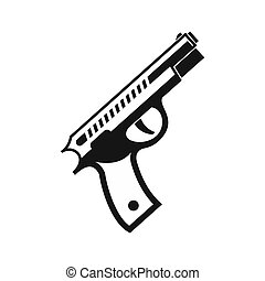 Gun icon in simple style - icon in simple style on a white...