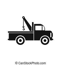 Car towing truck icon in flat style icon - icon in simple...