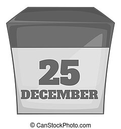 Calendar december twenty five icon in black monochrome style...