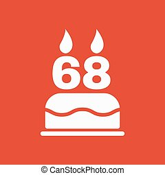 The birthday cake with candles in the form of number 68...