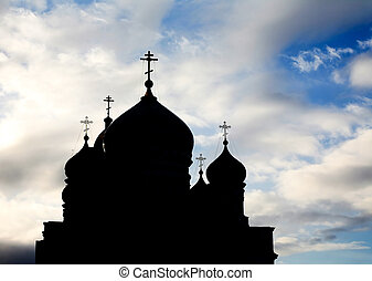 Domes - Silhouette of several church domes with crosses on...