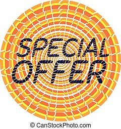 Special offer tag. Orange sticker. Icon for sale.