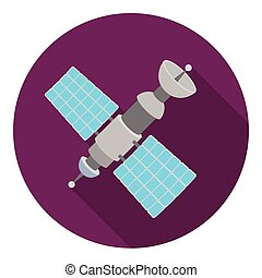 Satellite icon in flat style isolated on white background....