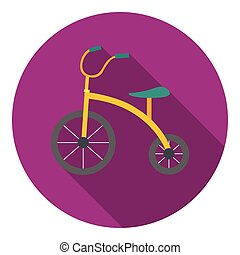 Tricycle icon in flat style isolated on white background. Play garden symbol stock vector illustration.