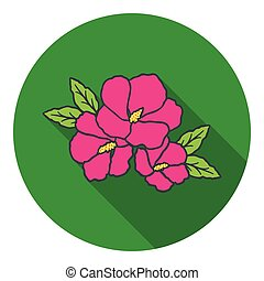 Rose of sharon icon in flat style isolated on white...