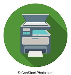 Multi-function printer in flat style isolated on white...