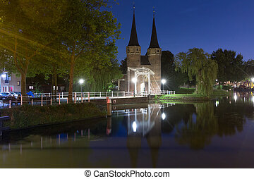 Night Eastern Gate, Oostpoort , Delft, Netherlands - Eastern...