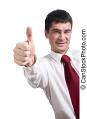 Success in business - Image of human hand with thumb up on...
