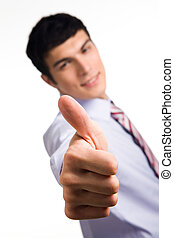 Success - Image of human hand with thumb up on background of...
