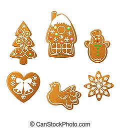 Christmas cookies set on a white background. Christmas...