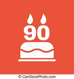 The birthday cake with candles in the form of number 90...