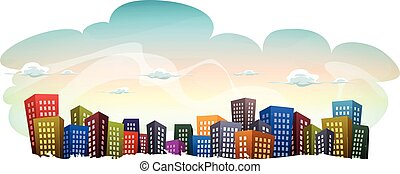 Cityscape With Buildings On Sky Background - Illustration of...