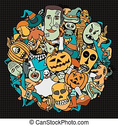 Halloween round illustration. - Hand Drawn illustrations...